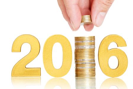 cash money: 2016 de oro concepto de inversor aislante en blanco Foto de archivo