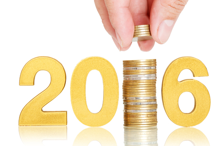 growth concept: golden 2016 investor concept isolate on white