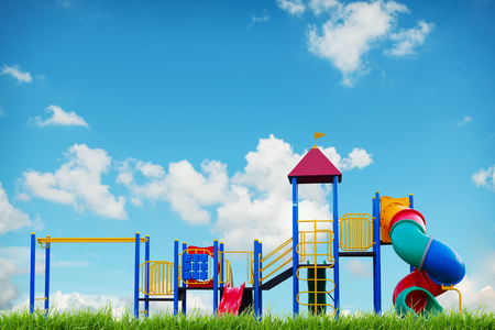 safe: children playground on blue sky summer