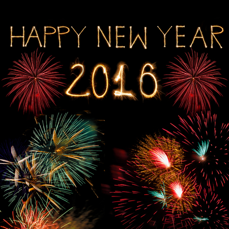 letter word: Happy new year 2016 written with Sparkle firework on the dark