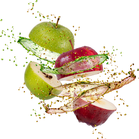 fruits in water: red and green apple splash on white background