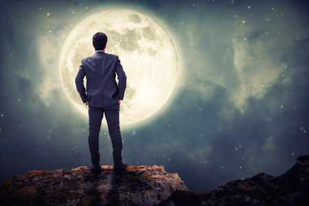 adjudicate: Businessman standing on top of a mountain and look ahead