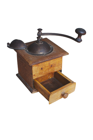 old coffee grinder, vintage, cut out on white background Stock Photo