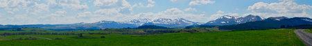 Puy du Sancy snowy spring. Panoramic shooting. Standard-Bild - 125025728