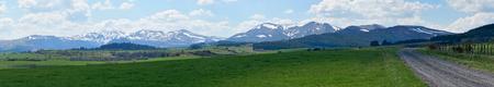 Puy du Sancy snowy spring. Panoramic shooting. Standard-Bild - 124695309