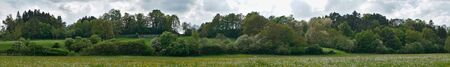 meadow in bloom in spring in Auvergne, Olby, Puy-de-Dome. Panoramic view.