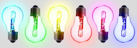 six standard light bulbs; in the color of the rainbow. Aligned on a white background 写真素材