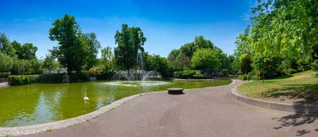 panoramic view of Lecoq garden pond, Clermont-Ferrand. No character Banco de Imagens