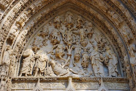 Cathedral Notre-Dame of Rouen. Tympanum of the central portal. Reklamní fotografie
