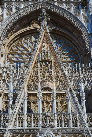 Cathedral Notre-Dame of Rouen. Western facade 写真素材 - 124989501