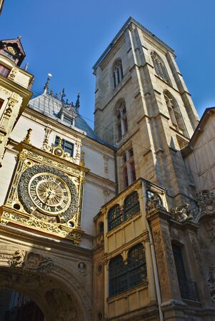 Street big clock, Rouen, Normandy. Wholesale clock detail