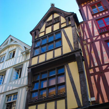 Rouen, rue du grand horloge, renovated half-timbered houses