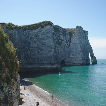 Cliff of Etretat seen from the beach, Normandy, France
