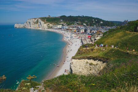 view of Etretat, panorama, beach, city, cliffs