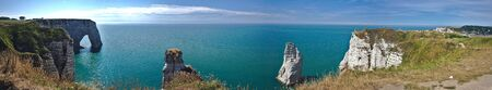 Panoramic view of the cliffs and needle of Etretat in Normandy, France