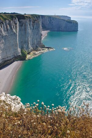 View of the cliffs of Etretat in Normandy, France Banco de Imagens
