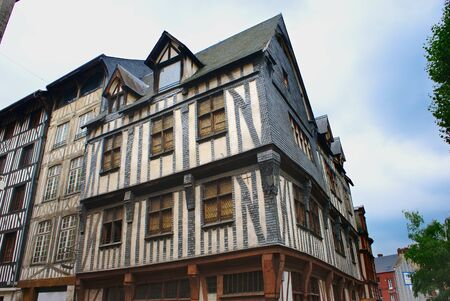 Normandy half-timbered house, in the city of Rouen in Normandy, at the crossroads of rue Robec and rue du Ruissel. la France