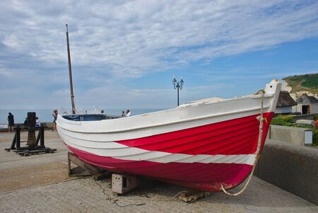 Fishing boat on the beach of Etretat in Normandy, France Stock Photo