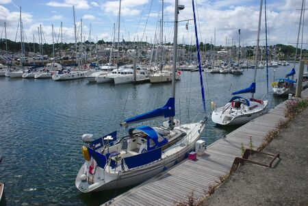 boats on the marina of Binic, Brittany in the coasts of Armor