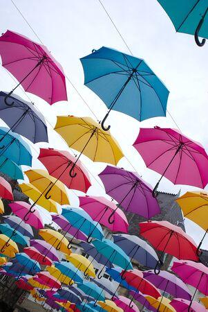 umbrellas sky multicolored, Pontivy. Brittany, morbihan.France Stok Fotoğraf