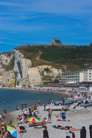 Etretat beach and cliffs in summer, Normandy, France