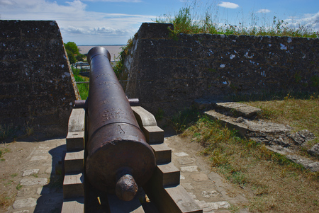 old canon of the citadel of blaye in France, new aquitaine 에디토리얼