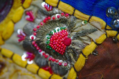 Indian patchwork detail, traditional handicraft handmade. decorative fabrics. 写真素材