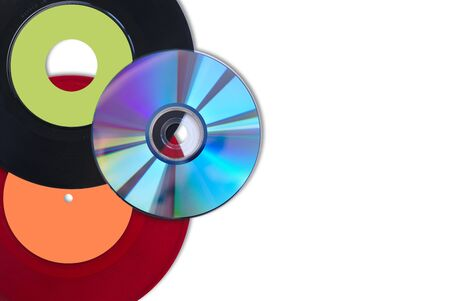 CD and vinyl singles red and black on a white background