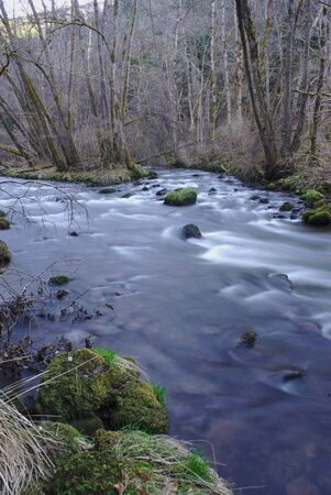 The Sioule, Auvergne river in spring. In long exposure
