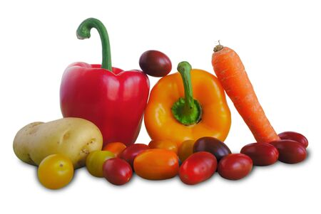 Seasonal vegetables. peppers, carrot, cherry tomatoes and potato. White background