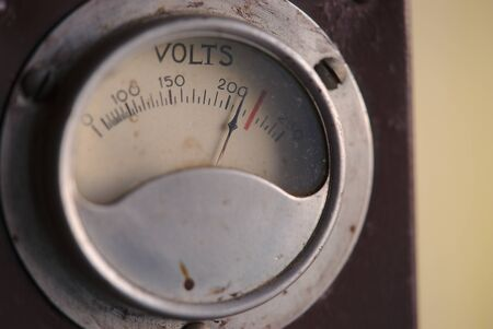 dial indicating a vintage power supply, close-up