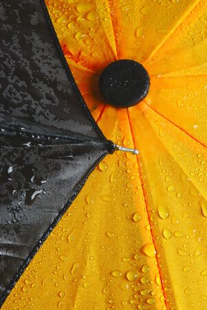 wet yellow and black umbrella cloth, close up Stok Fotoğraf