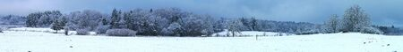 Panoramic shooting. Campaign snowy in Auvergne near Clermont Ferrand 写真素材