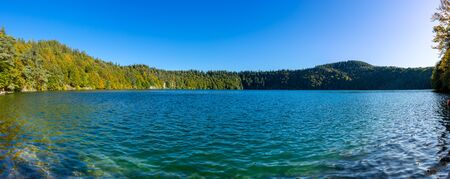 panoramic view of Lake Pavin in Auvergne, Puy-de-Dome, France