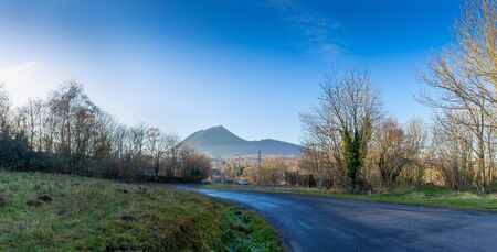panoramic view of the puy de dôme at the exit of montrodeix 写真素材