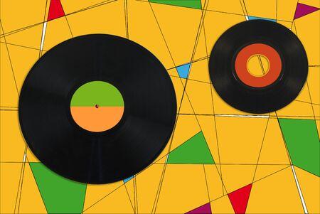 vintage, retro colorful geometric composition with vinyl records