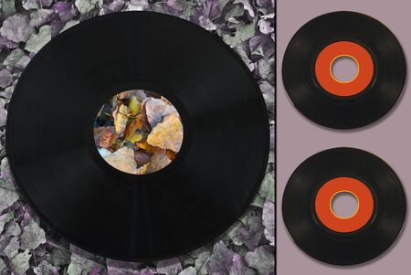 colorful geometric composition on a background of dead leaves, with vinyl records 写真素材