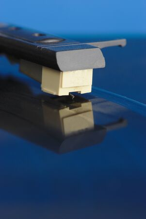 vinyl record player, macro close-up of the head and tonearm 写真素材