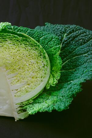 texture of the heart of a green cabbage close-up 写真素材