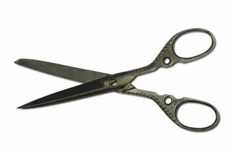 old collection scissors cut out on white background