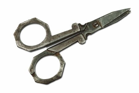 old collection scissors cut out on white background Stock Photo