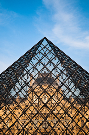 Glass Pyramid of Louvre, close up shot. Editorial