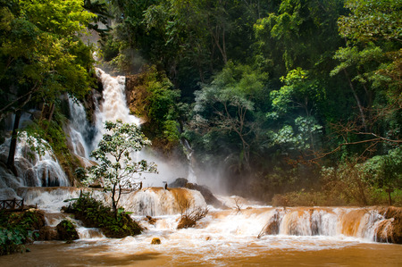Kuang Si waterfall in Luang Prabang, Laos during monsoon season.