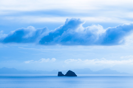 Serene blue evening in rainy season in Samui island, Thailand