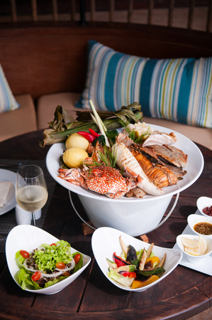 plater: Large Seafood Plater with salad and grilled vegetables