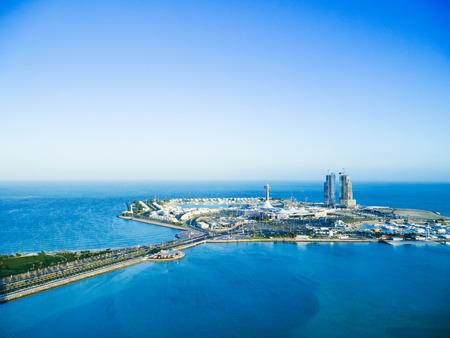 Abu Dhabi marina island, shopping district on man-made island. Banco de Imagens