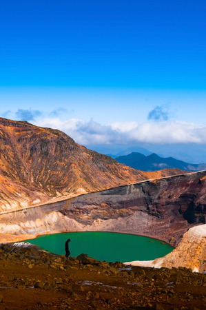 Green Volcano Crater of Mount Zao in Yamagata, Japan.