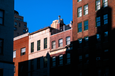 New York Apartment Buildings With Old Brick Wall. Stock Photo   82484913