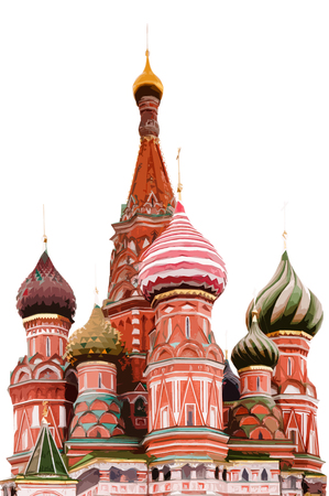 Saint Basil's Cathedral in the evening illustration 写真素材