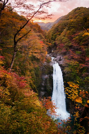 Famous Akiu Waterfall in Akiu Osen, Sendai, Japan during autumn.